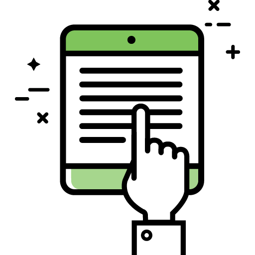 Icon with a cartoon hand outlined in black pointing toward lines on an ereader that has green top and bottom borders