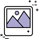 Icon with two purple triangles for mountains with a small purple circle for a sun on a white background with a black border.